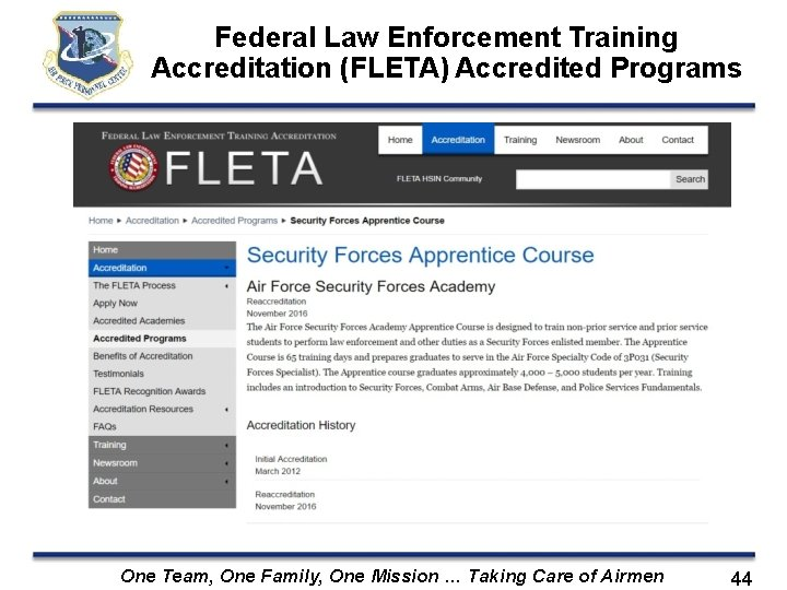 Federal Law Enforcement Training Accreditation (FLETA) Accredited Programs One Team, One Family, One Mission
