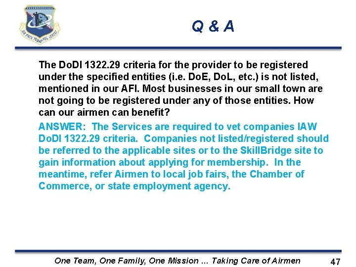 Q&A The Do. DI 1322. 29 criteria for the provider to be registered under