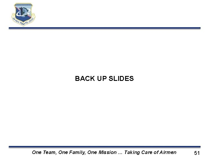 BACK UP SLIDES One Team, One Family, One Mission … Taking Care of Airmen