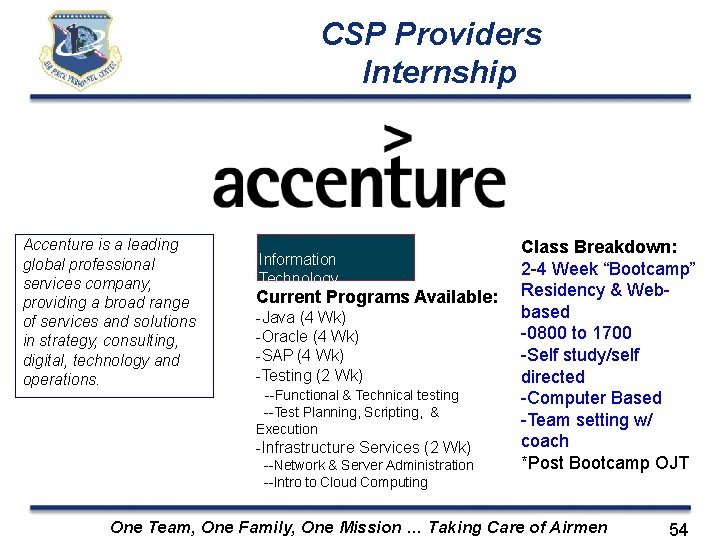 CSP Providers Internship Accenture is a leading global professional services company, providing a broad