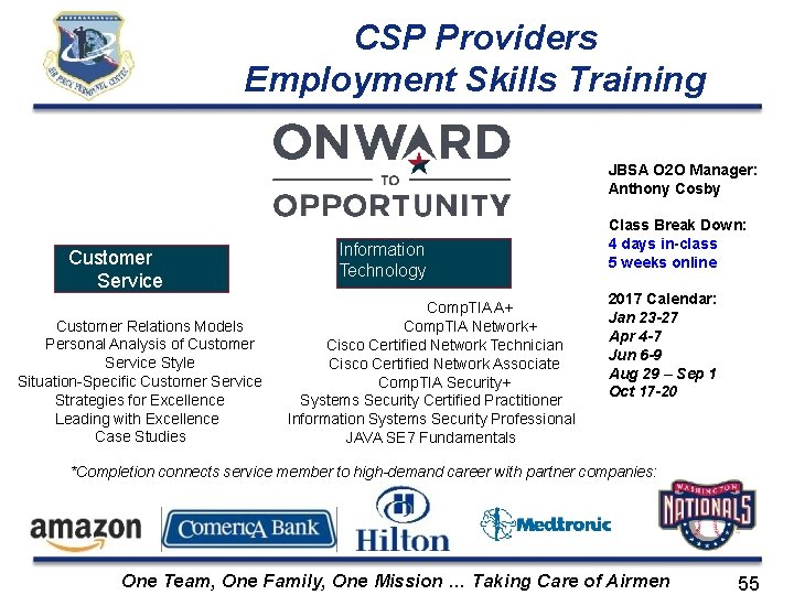CSP Providers Employment Skills Training JBSA O 2 O Manager: Anthony Cosby Customer Service