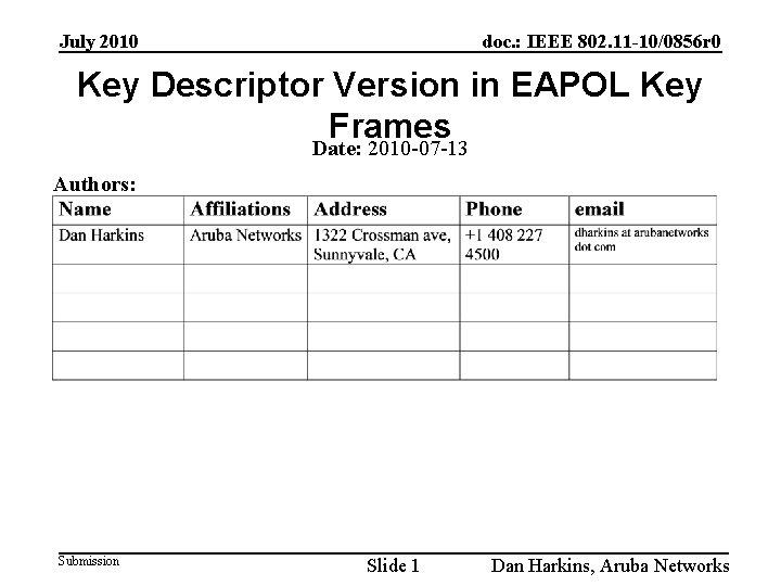 July 2010 doc. : IEEE 802. 11 -10/0856 r 0 Key Descriptor Version in