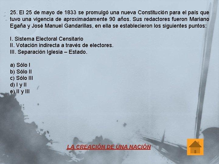 25. El 25 de mayo de 1833 se promulgó una nueva Constitución para el