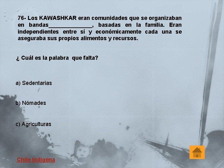 76 - Los KAWASHKAR eran comunidades que se organizaban en bandas_______, basadas en la