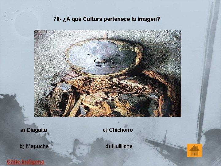 78 - ¿A qué Cultura pertenece la imagen? a) Diaguita c) Chichorro b) Mapuche