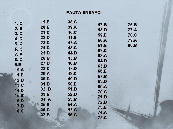 PAUTA ENSAYO 1. C 2. E 3. D 4. D 5. C 6. C