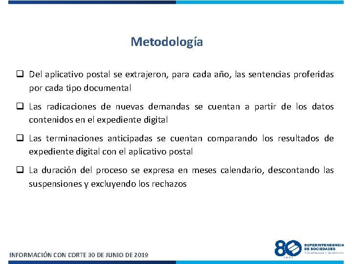 Metodología q Del aplicativo postal se extrajeron, para cada año, las sentencias proferidas por