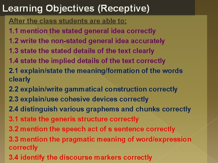 Learning Objectives (Receptive) After the class students are able to: 1. 1 mention the