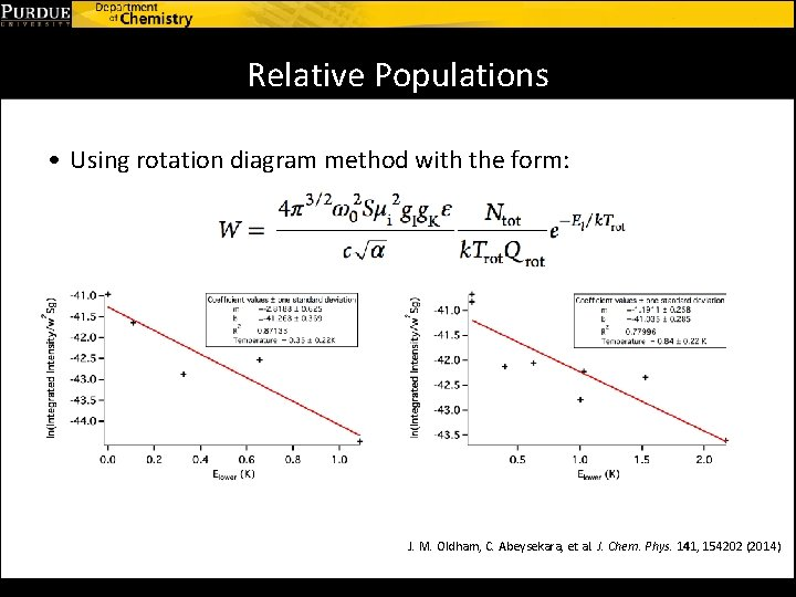 Relative Populations • Using rotation diagram method with the form: J. M. Oldham, C.