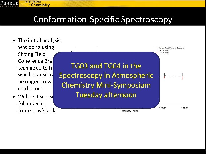 Conformation-Specific Spectroscopy • The initial analysis was done using Strong Field Coherence Breaking TG