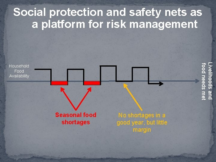 Social protection and safety nets as a platform for risk management Livelihoods and food