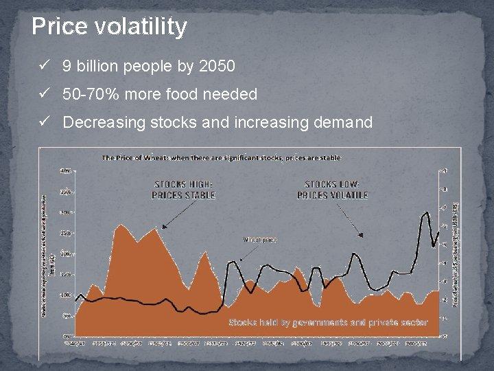 Price volatility ü 9 billion people by 2050 ü 50 -70% more food needed