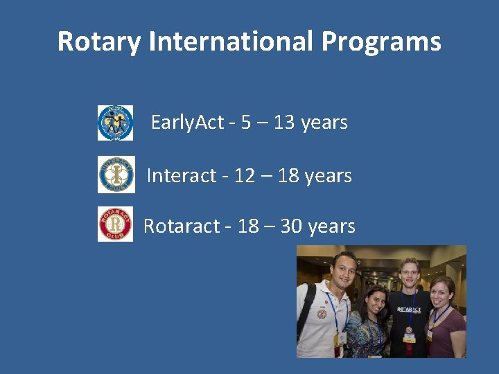Rotary International Programs Early. Act - 5 – 13 years Interact - 12 –