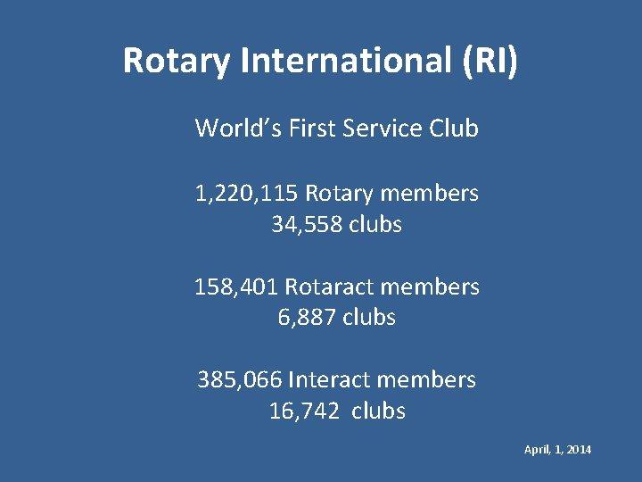 Rotary International (RI) World's First Service Club 1, 220, 115 Rotary members 34, 558