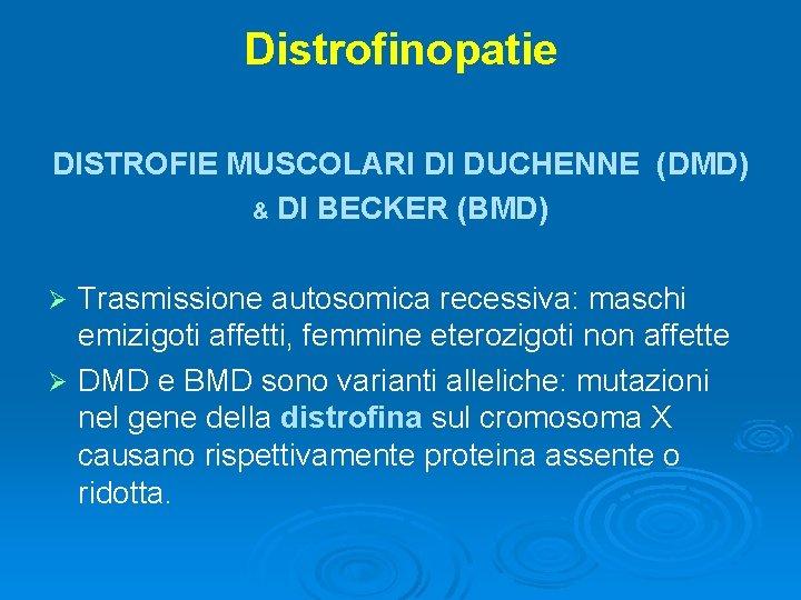 Distrofinopatie DISTROFIE MUSCOLARI DI DUCHENNE (DMD) & DI BECKER (BMD) Trasmissione autosomica recessiva: maschi