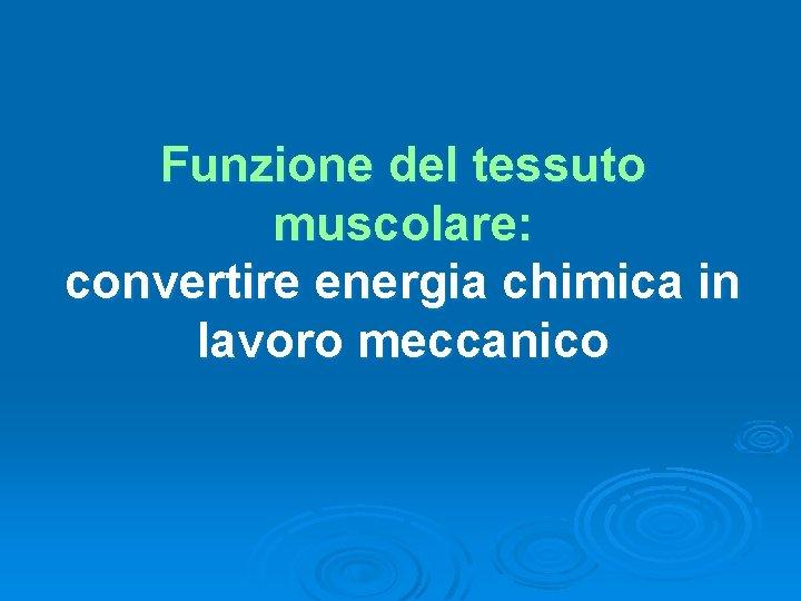 Funzione del tessuto muscolare: convertire energia chimica in lavoro meccanico