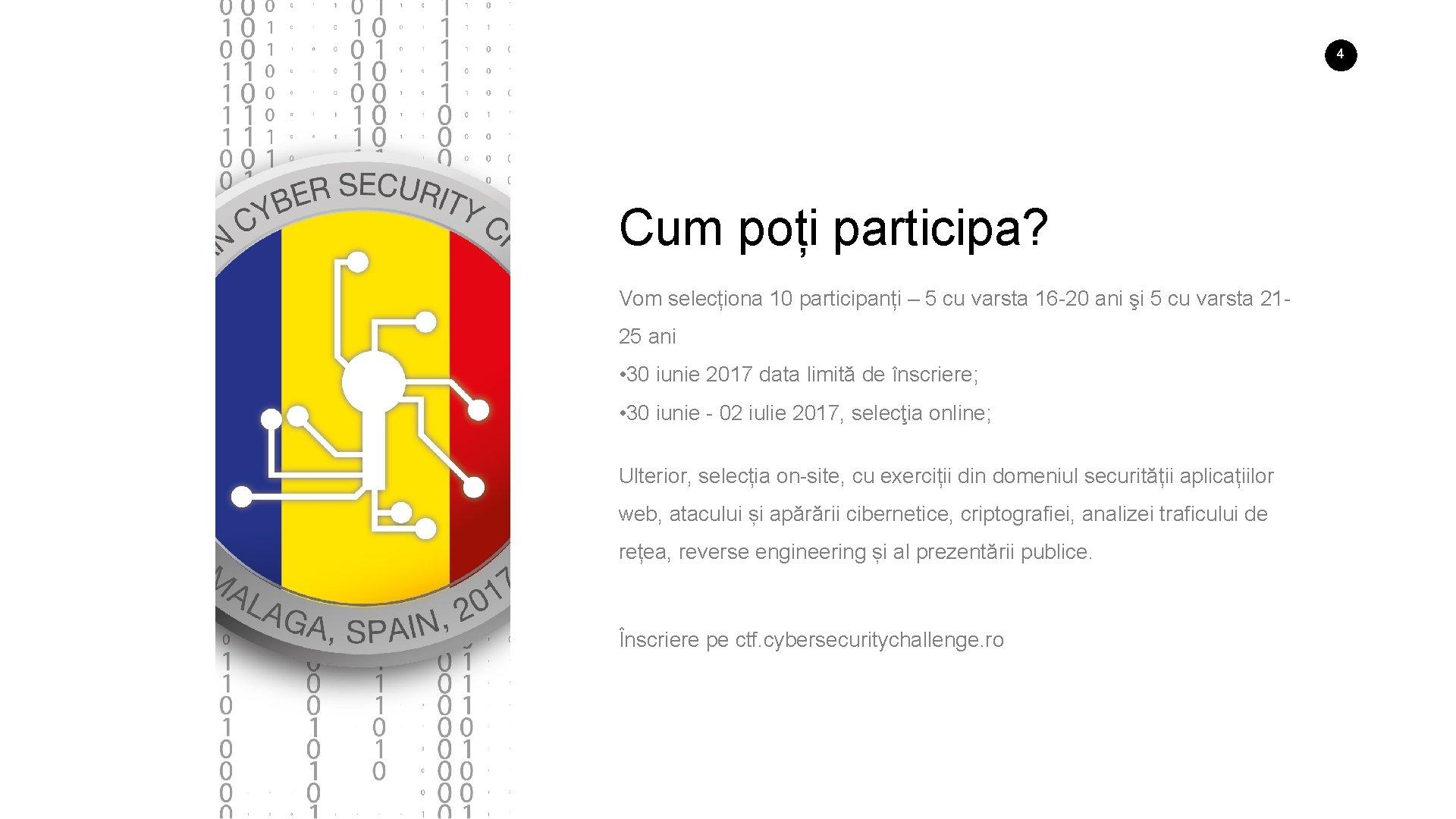 4 Cum poți participa? Vom selecționa 10 participanți – 5 cu varsta 16 -20