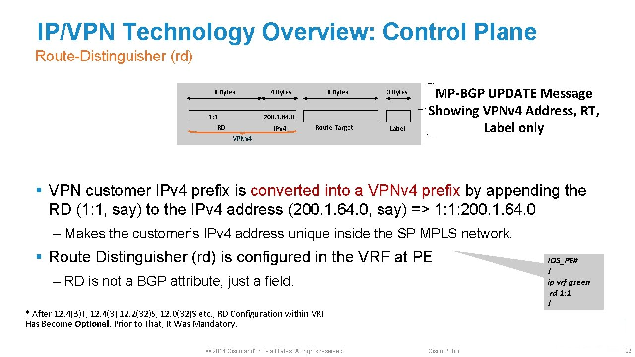 IP/VPN Technology Overview: Control Plane Route-Distinguisher (rd) 8 Bytes 1: 1 4 Bytes 8