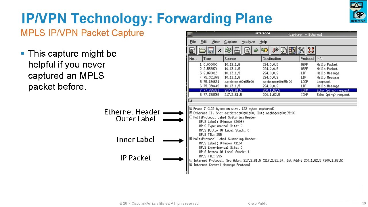 IP/VPN Technology: Forwarding Plane MPLS IP/VPN Packet Capture Reference § This capture might be