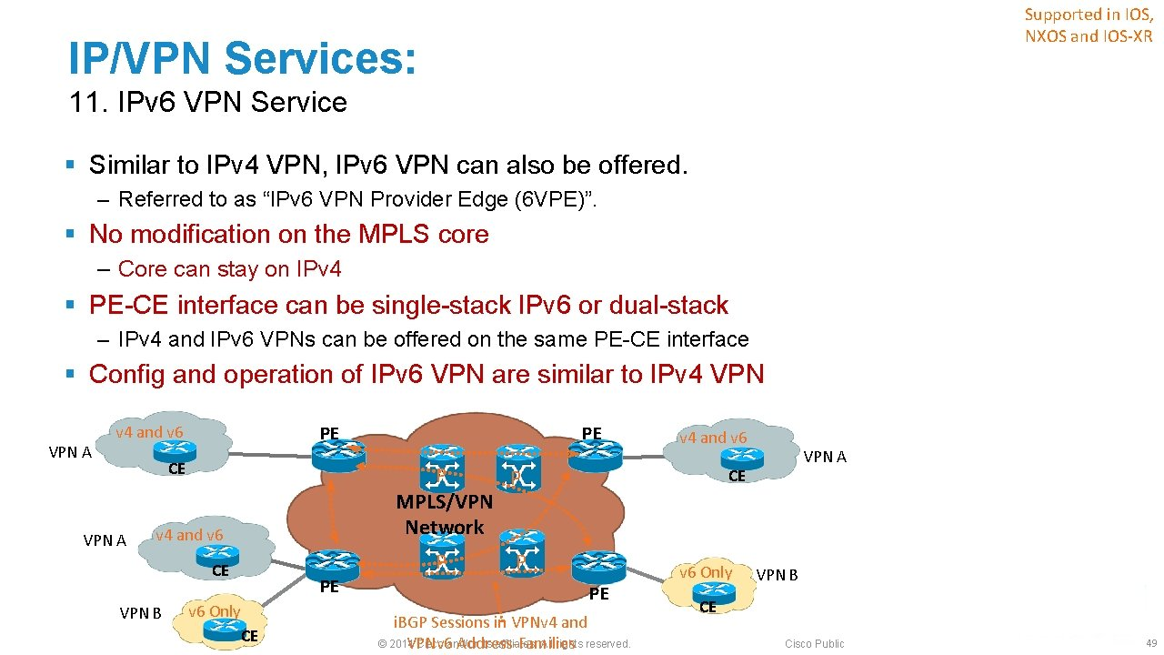 Supported in IOS, NXOS and IOS-XR IP/VPN Services: 11. IPv 6 VPN Service §