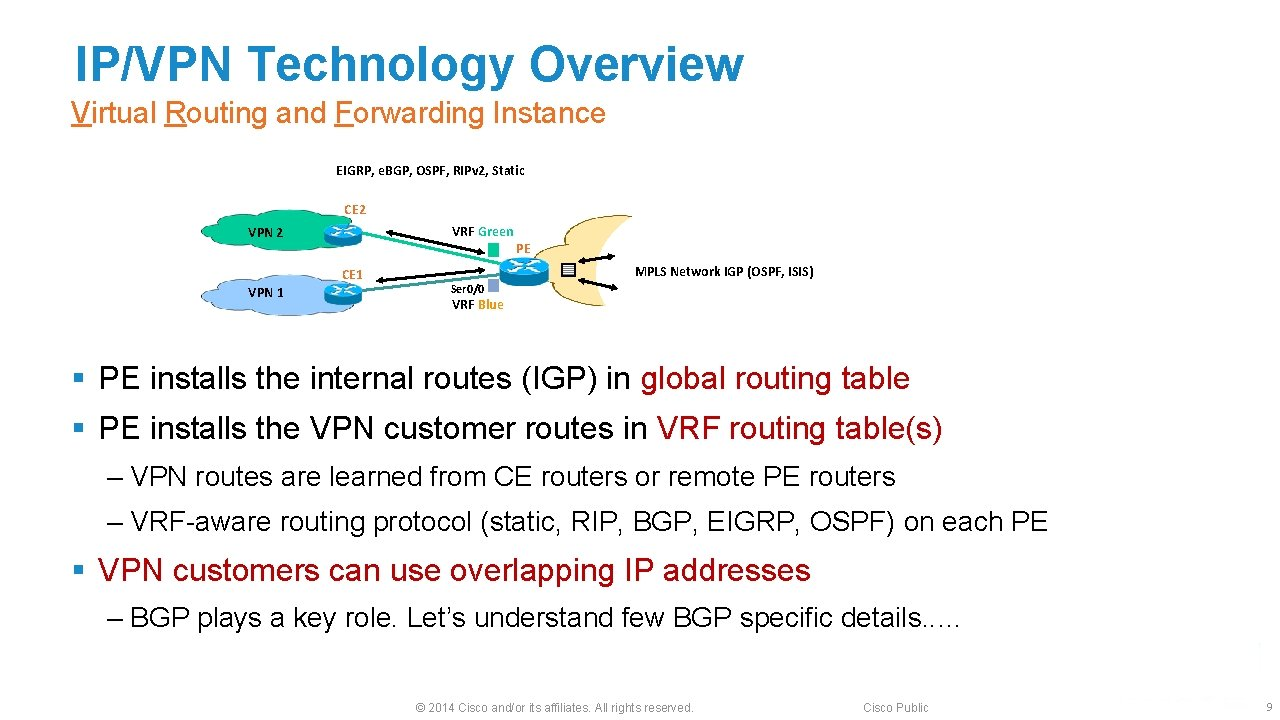 IP/VPN Technology Overview Virtual Routing and Forwarding Instance EIGRP, e. BGP, OSPF, RIPv 2,