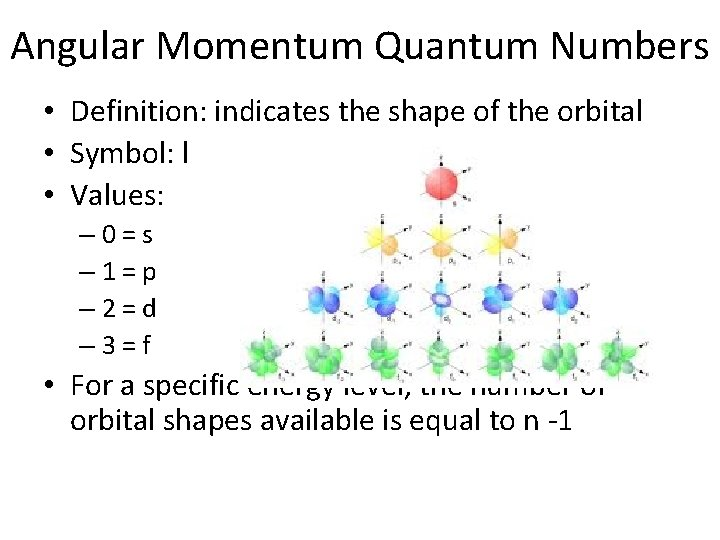 Angular Momentum Quantum Numbers • Definition: indicates the shape of the orbital • Symbol: