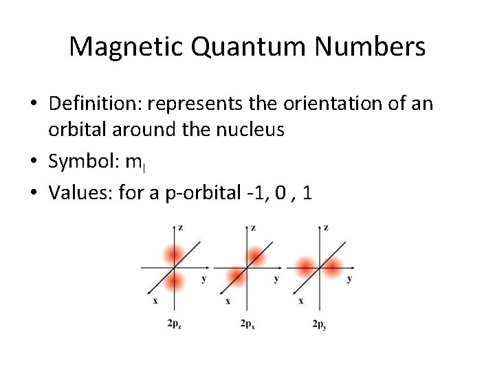 Magnetic Quantum Numbers • Definition: represents the orientation of an orbital around the nucleus