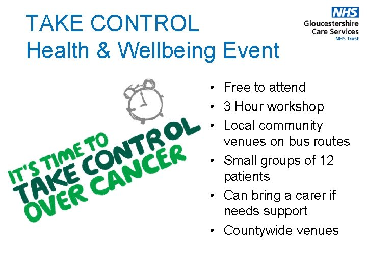 TAKE CONTROL Health & Wellbeing Event • Free to attend • 3 Hour workshop