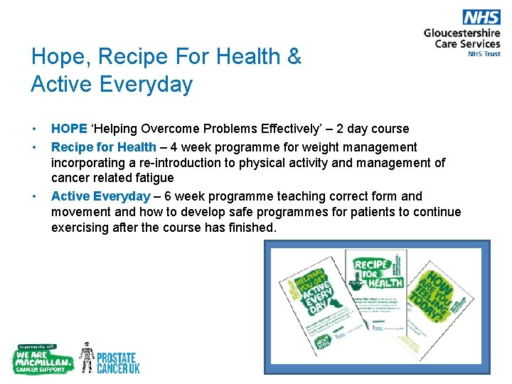 Hope, Recipe For Health & Active Everyday • • • HOPE 'Helping Overcome Problems
