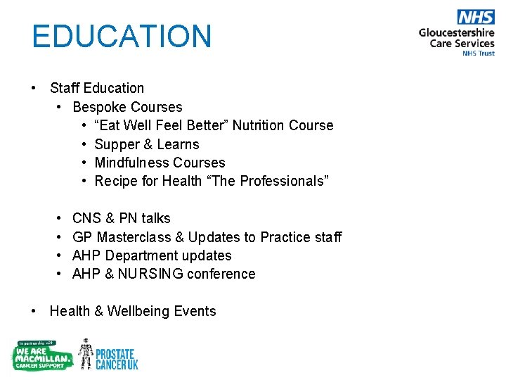 """EDUCATION • Staff Education • Bespoke Courses • """"Eat Well Feel Better"""" Nutrition Course"""