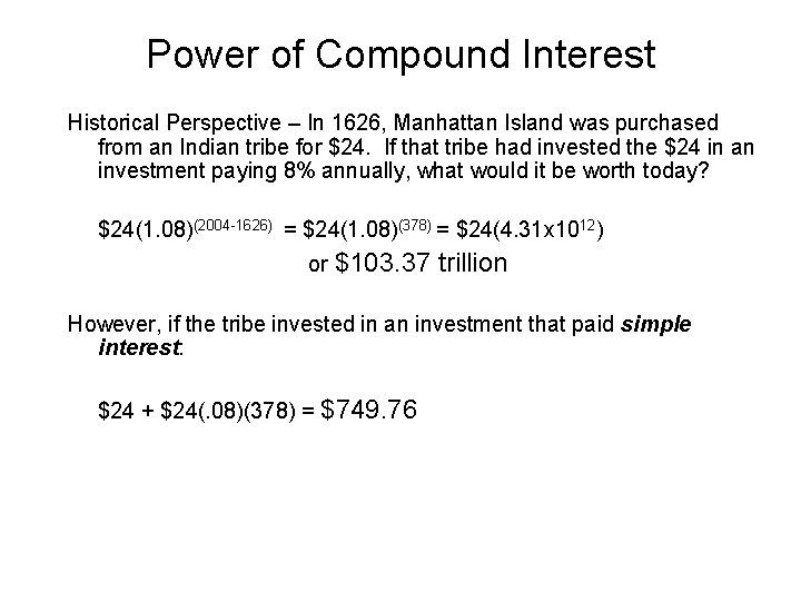 Power of Compound Interest Historical Perspective – In 1626, Manhattan Island was purchased from