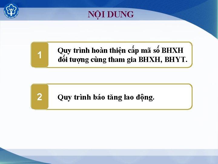 NỘI DUNG 1 Quy trình hoàn thiện cấp mã số BHXH đối tượng cùng