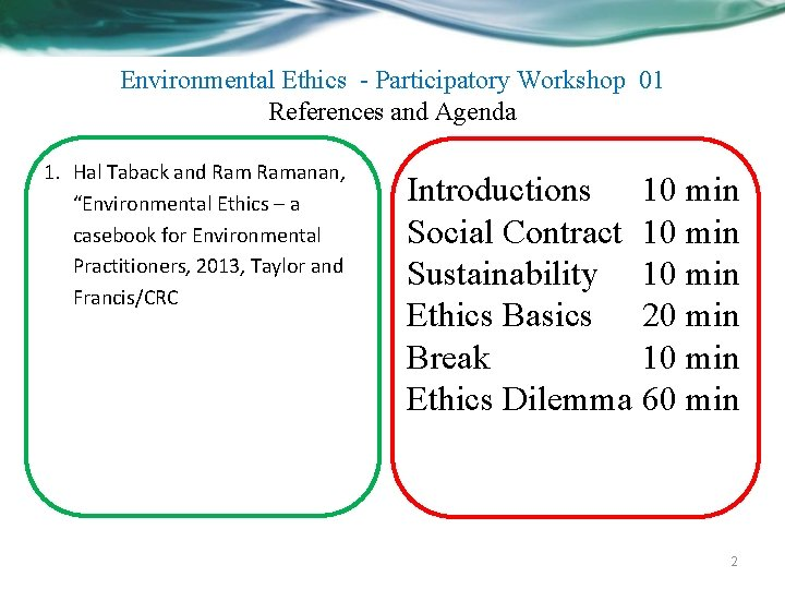 Environmental Ethics - Participatory Workshop 01 References and Agenda 1. Hal Taback and Ramanan,