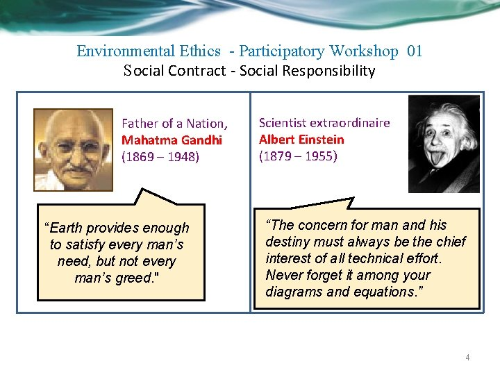 Environmental Ethics - Participatory Workshop 01 Social Contract - Social Responsibility Father of a