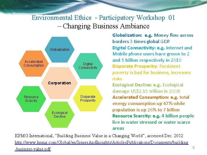 Environmental Ethics - Participatory Workshop 01 – Changing Business Ambiance Globalization Accelerated Consumption Digital