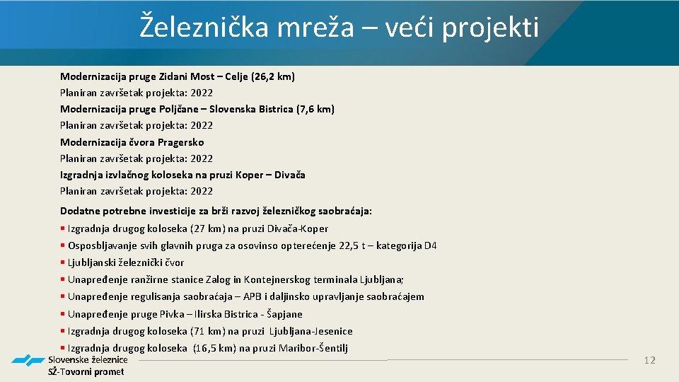 Železnička mreža – veći projekti Modernizacija pruge Zidani Most – Celje (26, 2 km)