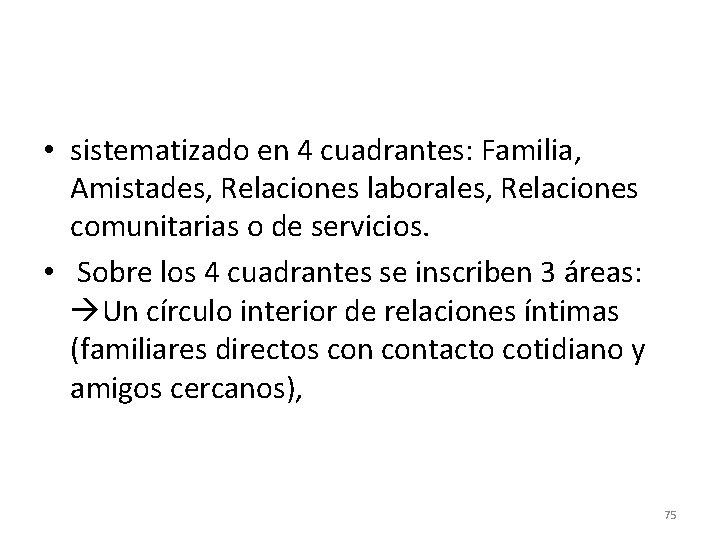 • sistematizado en 4 cuadrantes: Familia, Amistades, Relaciones laborales, Relaciones comunitarias o de