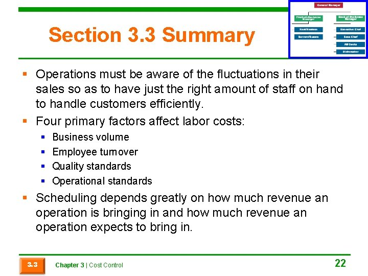 Section 3. 3 Summary § Operations must be aware of the fluctuations in their