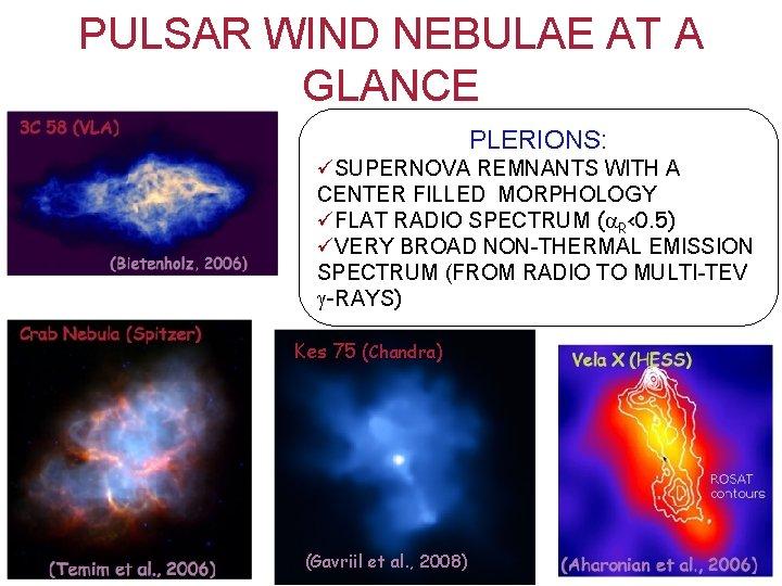 PULSAR WIND NEBULAE AT A GLANCE PLERIONS: üSUPERNOVA REMNANTS WITH A CENTER FILLED MORPHOLOGY