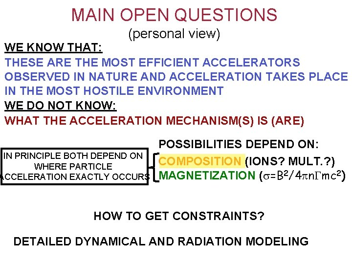 MAIN OPEN QUESTIONS (personal view) WE KNOW THAT: THESE ARE THE MOST EFFICIENT ACCELERATORS