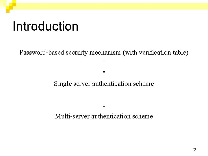 Introduction Password-based security mechanism (with verification table) Single server authentication scheme Multi-server authentication scheme