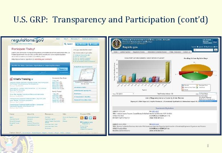 U. S. GRP: Transparency and Participation (cont'd) 8