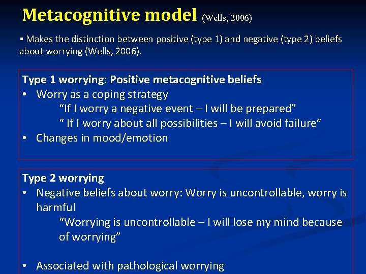 Metacognitive model (Wells, 2006) § Makes the distinction between positive (type 1) and negative