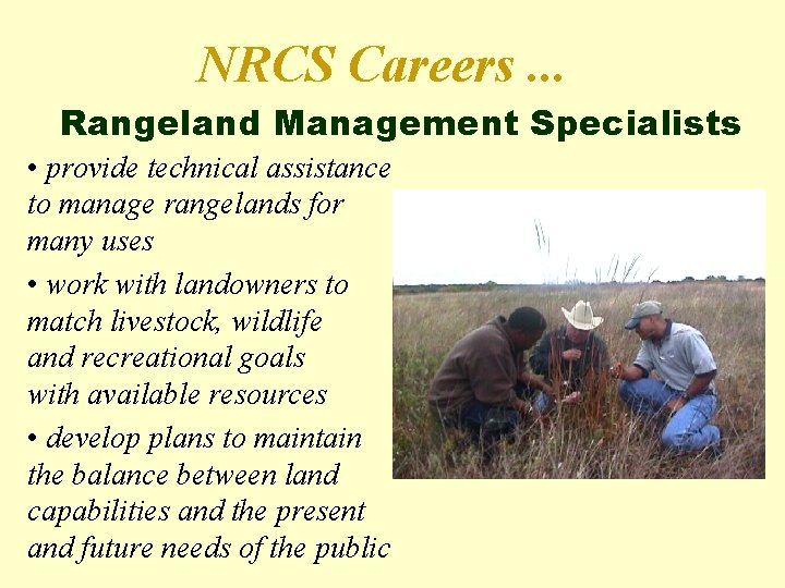 NRCS Careers. . . Rangeland Management Specialists • provide technical assistance to manage rangelands