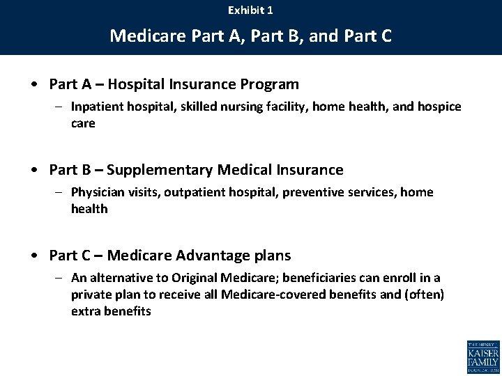 Exhibit 1 Medicare Part A, Part B, and Part C • Part A –
