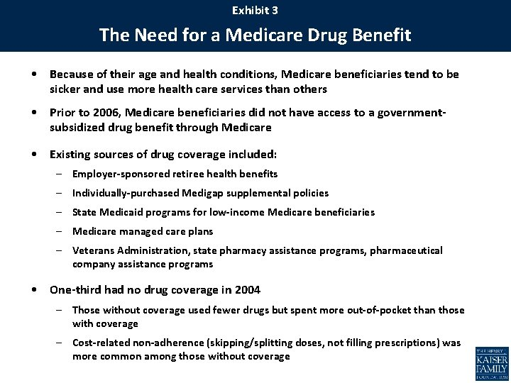 Exhibit 3 The Need for a Medicare Drug Benefit • Because of their age