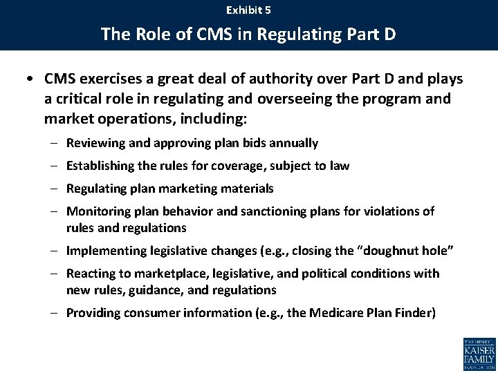 Exhibit 5 The Role of CMS in Regulating Part D • CMS exercises a