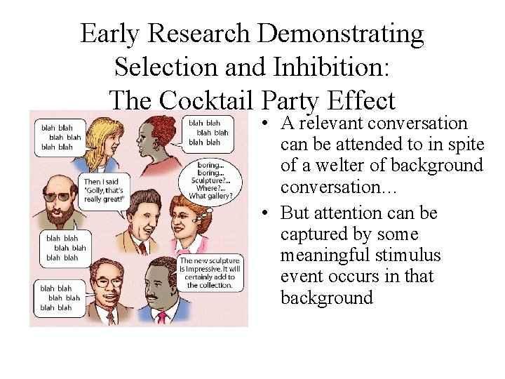 Early Research Demonstrating Selection and Inhibition: The Cocktail Party Effect • A relevant conversation