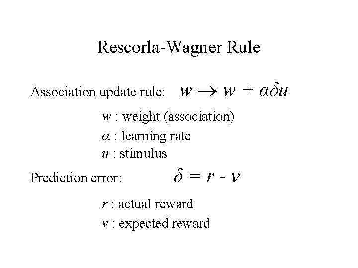 Rescorla-Wagner Rule Association update rule: w w + αδu w : weight (association) α