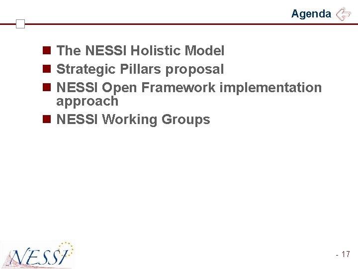 Agenda n The NESSI Holistic Model n Strategic Pillars proposal n NESSI Open Framework